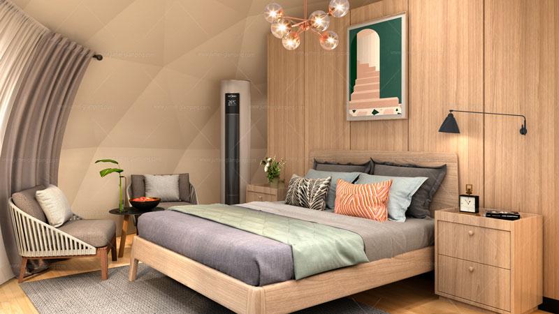Glamping Dome Pod Bedroom