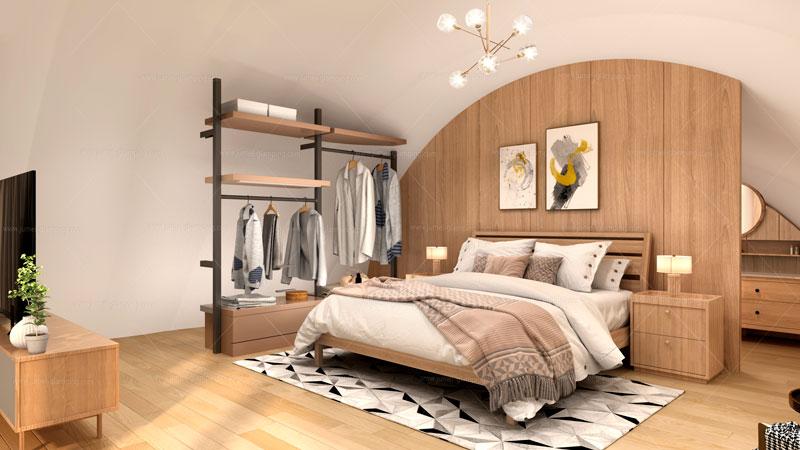 Shell Glamping Pod Bedroom
