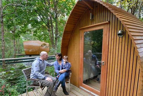 Traditional glamping pod