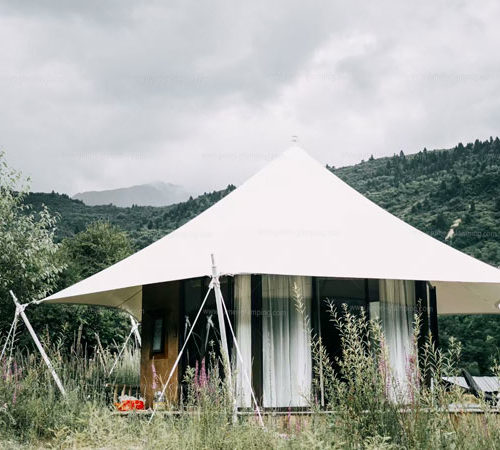 Luxury glamping tents at the mountain foot resort