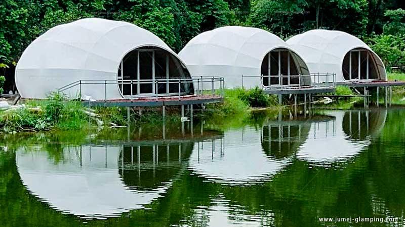 Luxury WaterDrop Glamping Pod by Lake